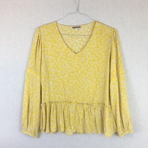 Pleione Yellow Floral Blouse V-Neck W/ Embroidery